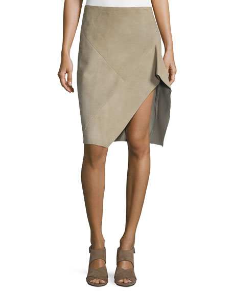 Asymmetric Suede Skirt, Stone
