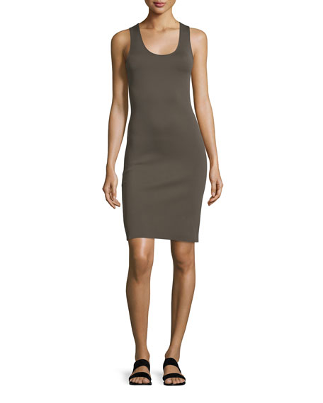 Helmut Lang Neoprene Racerback Sheath Dress, Dark Pyrite
