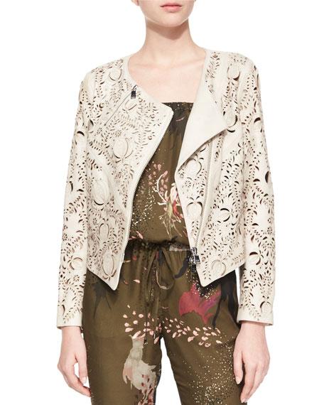 Haute Hippie Floral Laser-Cut Leather Jacket