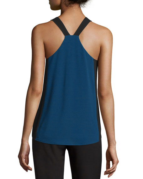 Sofya Sleeveless Two-Tone Top, Blue