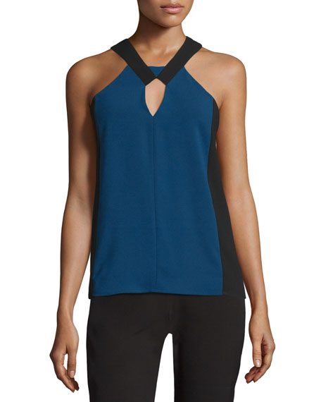 BCBGMAXAZRIA Sofya Sleeveless Two-Tone Top, Blue