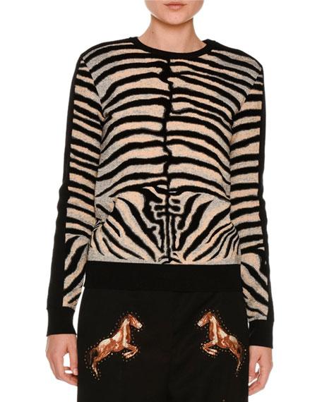 Stella McCartney Zebra Intarsia Pullover Sweater, Multicolor