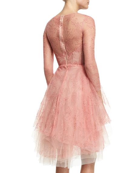 Long-Sleeve Lace Illusion Dress, Azalea