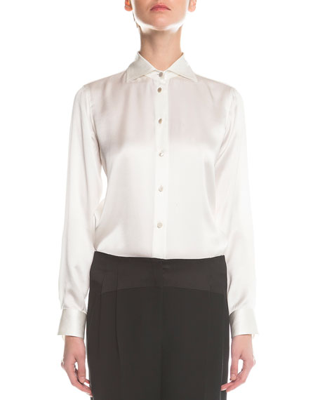 Giorgio Armani Long-Sleeve Satin Button Blouse