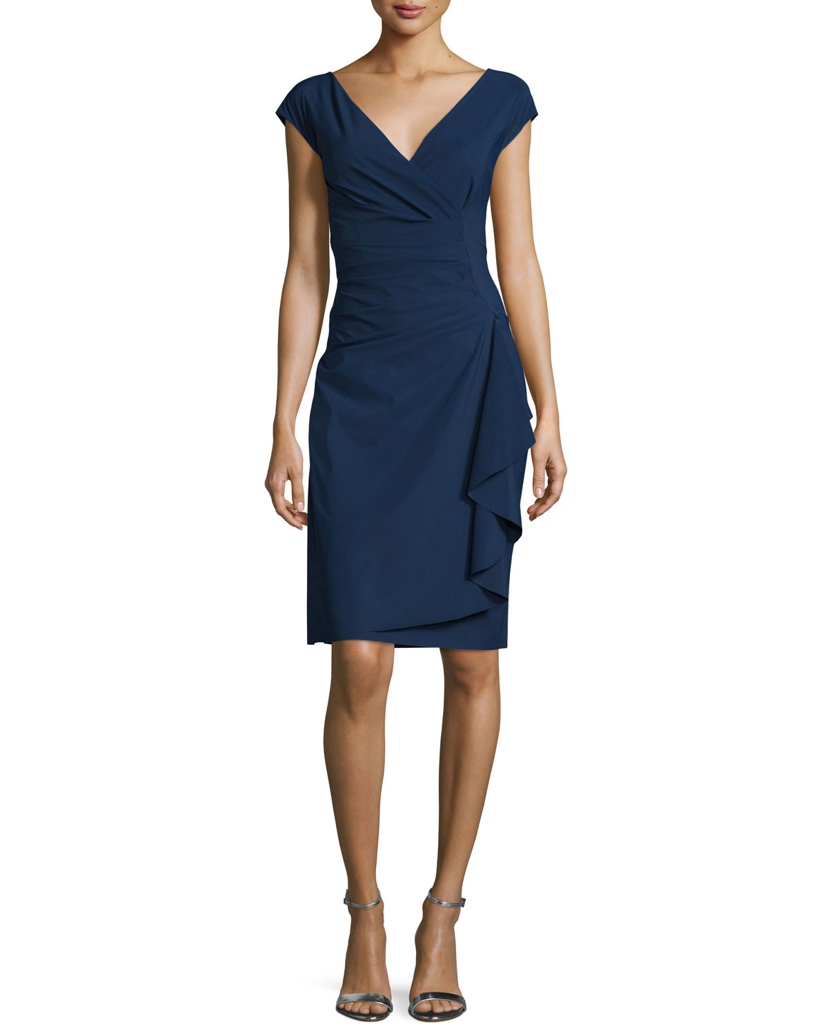 7524ac5ce3e9 Chiara Boni La Petite Robe Charis Side-Ruffle Cocktail Dress, Blue Notte