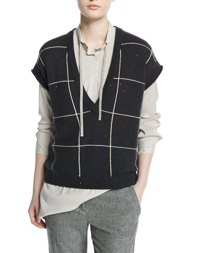 Cap-Sleeve Sequined Windowpane Vest, Onyx/Honey