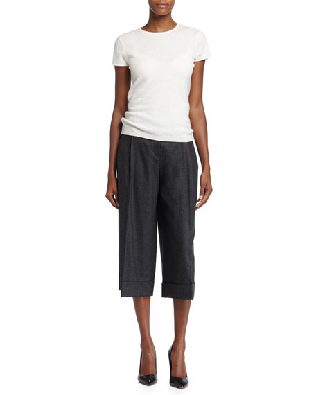 Pleated-Front Culotte Pants, Charcoal