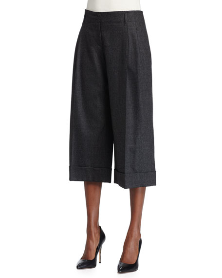 Michael Kors Pleated-Front Culotte Pants, Charcoal