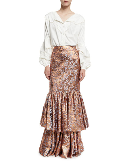 d'Artagnan Tiered Jacquard Maxi Skirt, Rose Gold/Blue