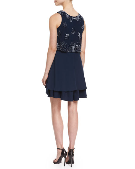 Sleeveless Embroidered Cocktail Dress, Blue