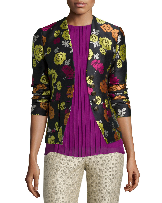 Daftar Harga Violet Floral Blazer Termurah 2018 Womenamp039s Retro 3 4 Sleeve Denim Slim Bubble T Shirt Dress Etro Print Corset Back Jacket Neiman Marcus