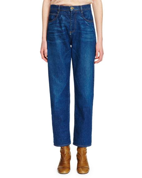 Chloe High-Waist Straight-Leg Jeans, Denim