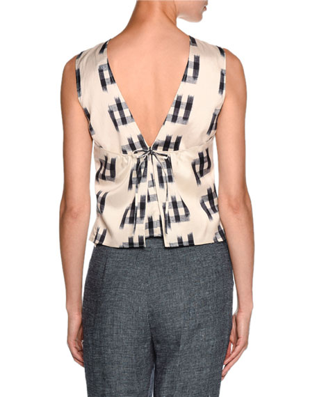 Shantung Sleeveless Tie-Back Blouse, White/Black