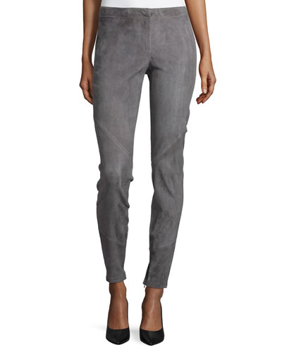 Slim Stretch Suede Pant with Ankle Zip