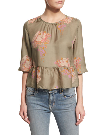 The Great The Honey Floral-Print Peplum Shirt, Army