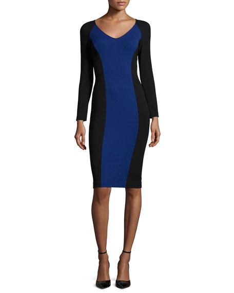 Long-Sleeve Colorblock Sheath Dress, Black/Bluette