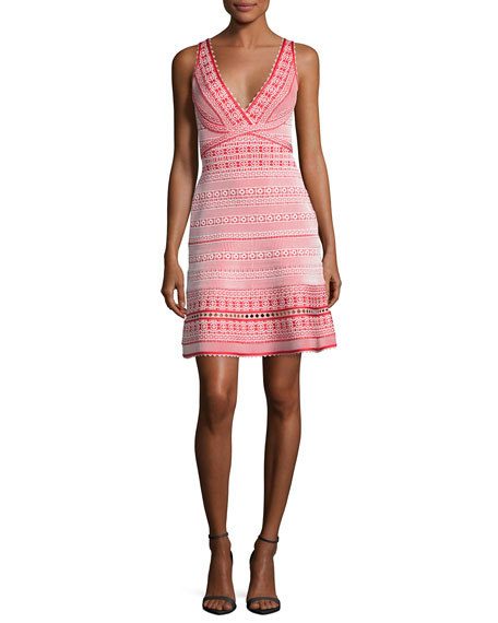 Herve Leger Sleeveless Jacquard Dress, Red