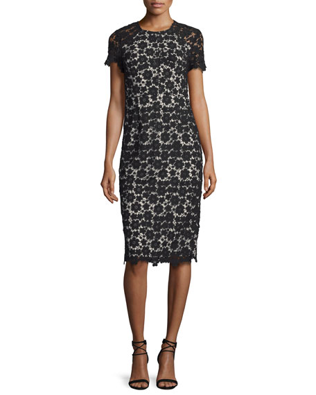 Shoshanna Short-Sleeve Lace Midi Sheath Dress, Black/Ivory
