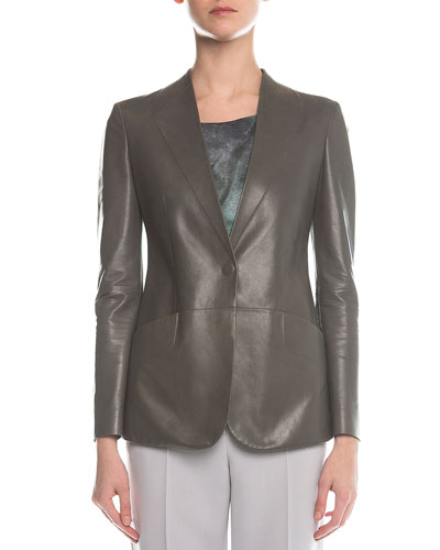 Faux-Lapel Plonge Leather Blazer  Gray