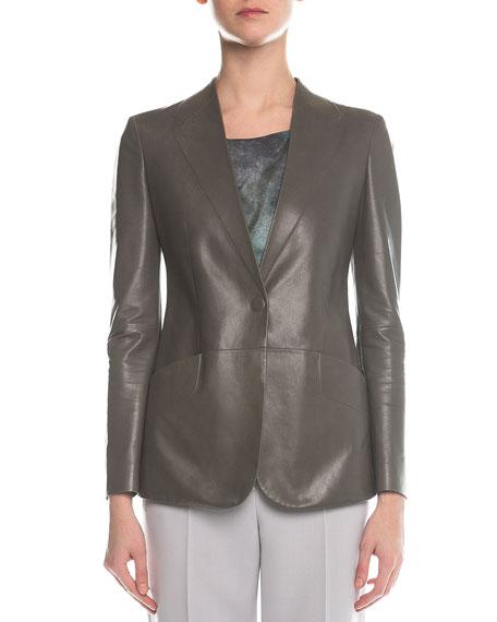Giorgio Armani Faux-Lapel Plonge Leather Blazer, Gray