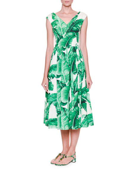 Dolce & Gabbana Cap-Sleeve Banana Leaf-Print Midi Dress,