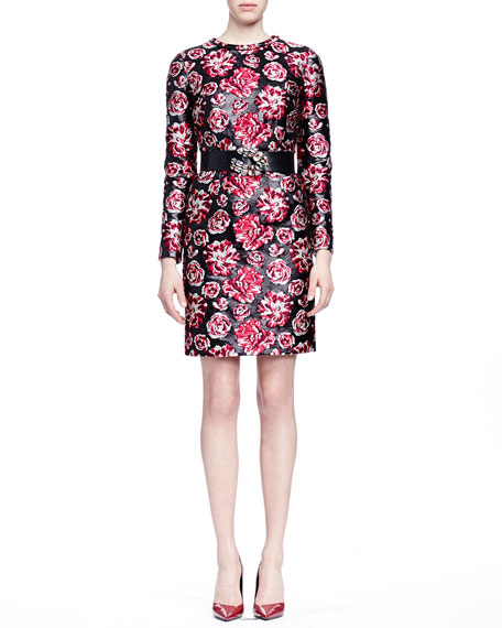 Lanvin Bracelet-Sleeve Floral-Jacquard Sheath Dress