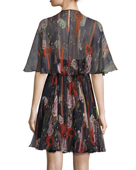 Floral Half-Sleeve Cocktail Dress, Black/Multi