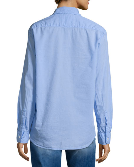 Eileen Button-Front Poplin Shirt, Indigo