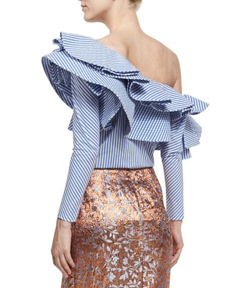 Anastasia Striped One-Shoulder Blouse, Blue/White