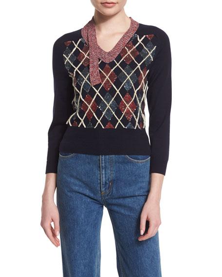 Marc Jacobs 3/4-Sleeve Embellished Argyle Sweater, Navy