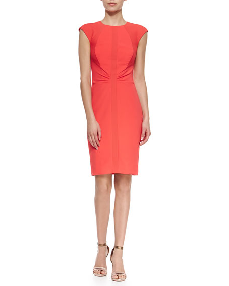 Ted Baker London Cap-Sleeve Sheath with Paneled Details