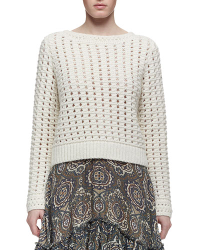 Long-Sleeve Crocheted Sweater, Cream