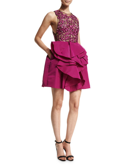 Marchesa Sleeveless Embroidered-Bodice Party Dress, Fuchsia