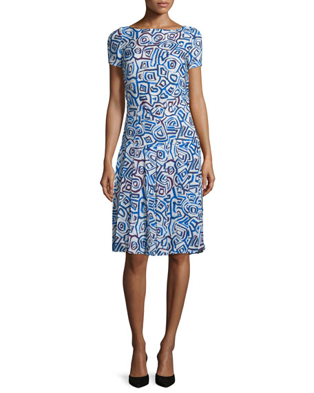 Oscar de la Renta Abstract Watercolor-Shaped Print Dress,