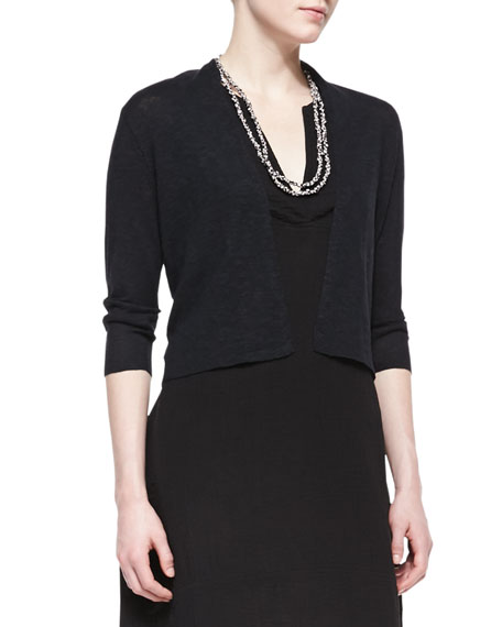 Eileen Fisher 3/4-Sleeve Slub Cropped Cardigan, Black, Plus