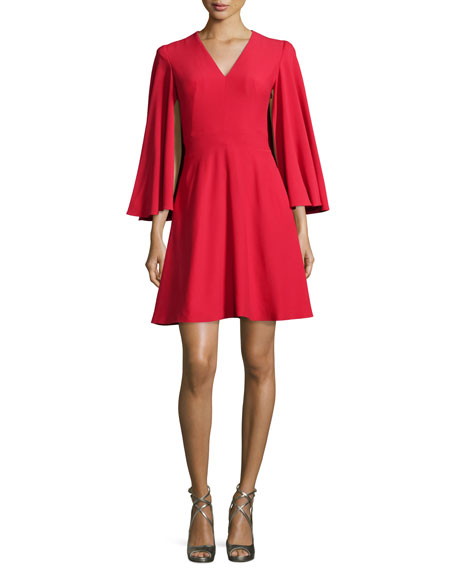 Alexander McQueen Cape-Sleeve V-Neck Mini Dress, Blazer Red
