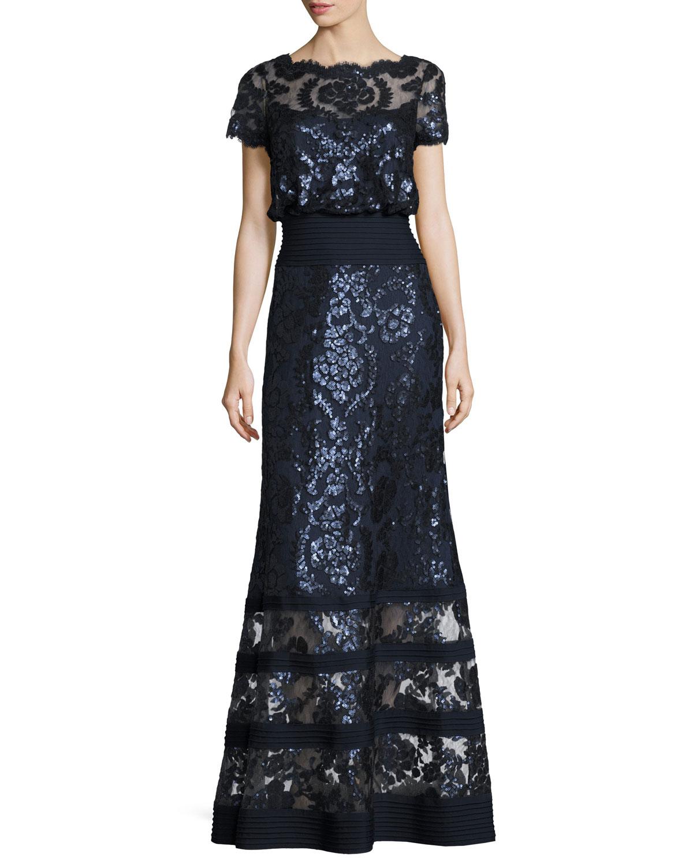 Short Sleeve Embellished Tulle Blouson Gown