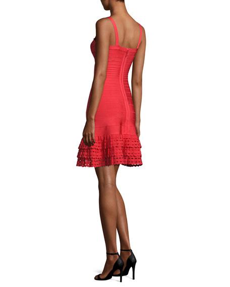 Sleeveless Ruffled-Hem Bandage Dress, Bright Poppy