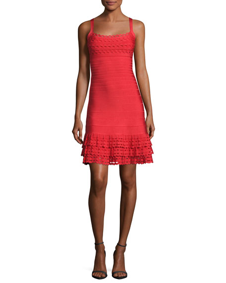 Herve Leger Sleeveless Ruffled-Hem Bandage Dress, Bright Poppy
