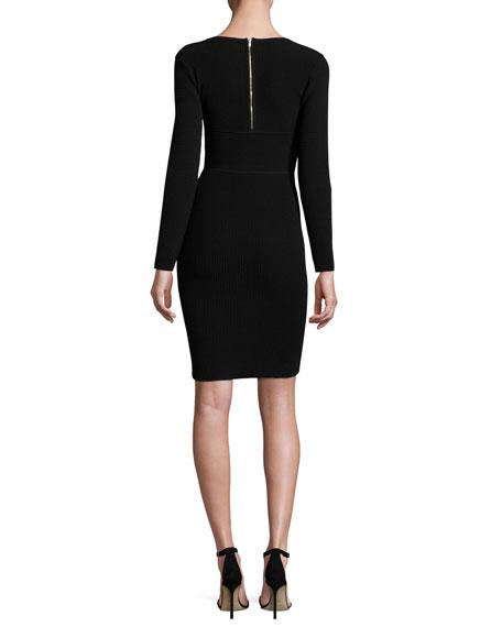 Ottoman Long-Sleeve Angled Sheath Dress, Black
