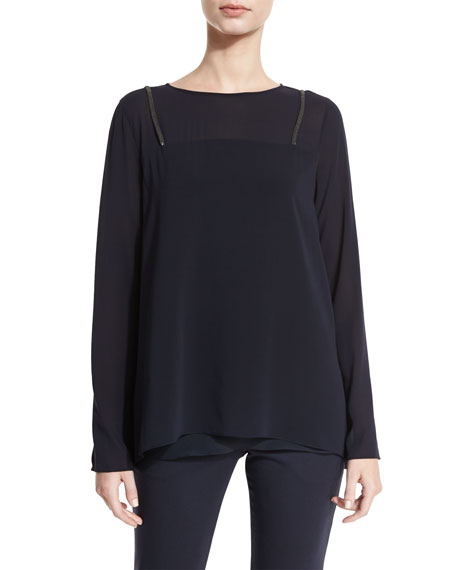 Brunello Cucinelli Monili-Suspender Long-Sleeve Blouse, Navy