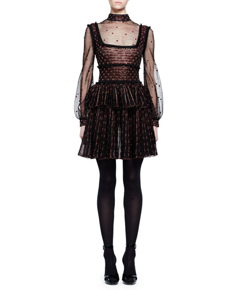 Alexander McQueen Mock-Neck Sheer Wave Dot Dress, Black/Pink