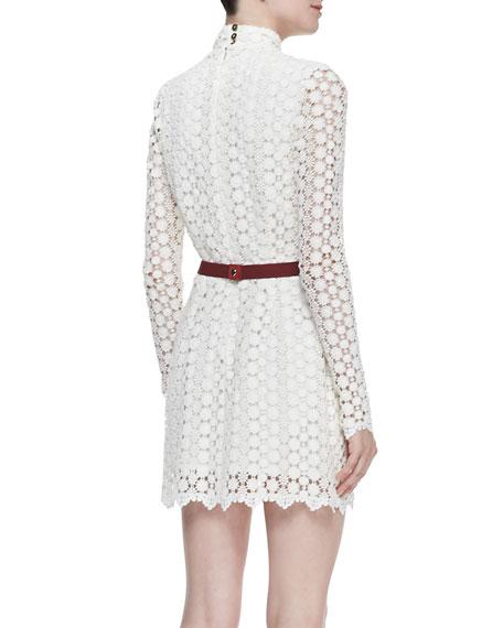 Elise Belted Floral-Lace Dress