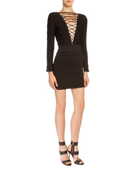 Laced-Front Bandage Mini Dress, Black