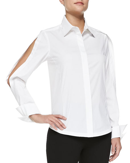 Donna Karan Open-Sleeve Collared Blouse