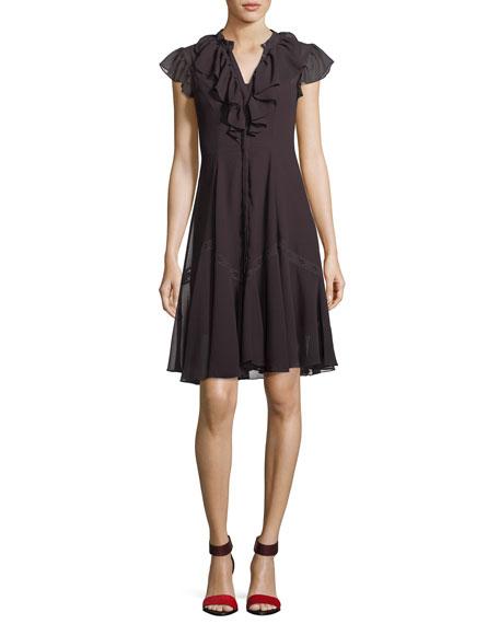 Needle & Thread Victorian Cap-Sleeve Ruffle Dress