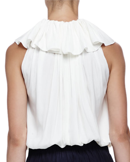 V-Neck Ruffled Cotton Tassel Top