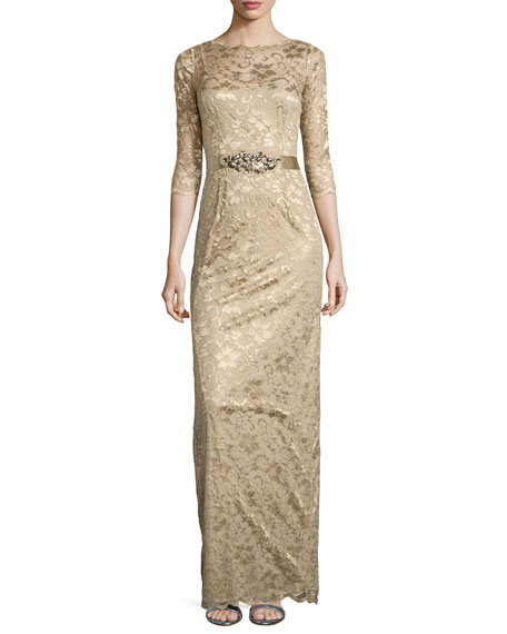 3/4-Sleeve Lace Overlay Gown, Gold