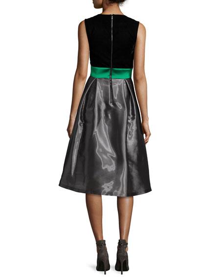 Sleeveless Colorblock Combo Dress, Moonstone
