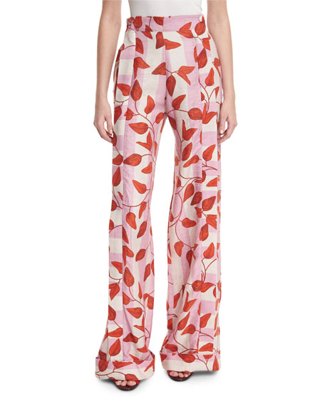 Johanna Ortiz Colorado High-Waist Leaf-Print Trousers, Red/Pink